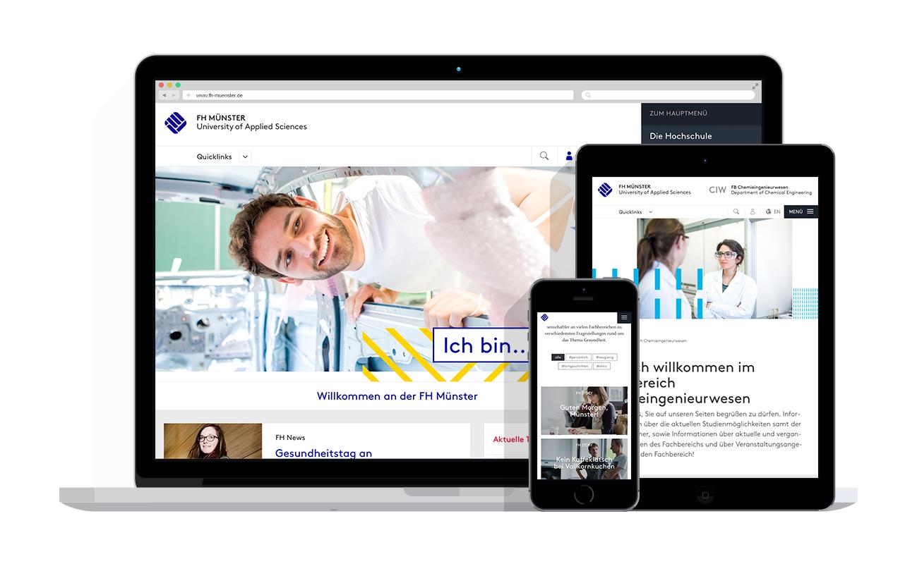 Darstellung der responsiven Website der FH Münster